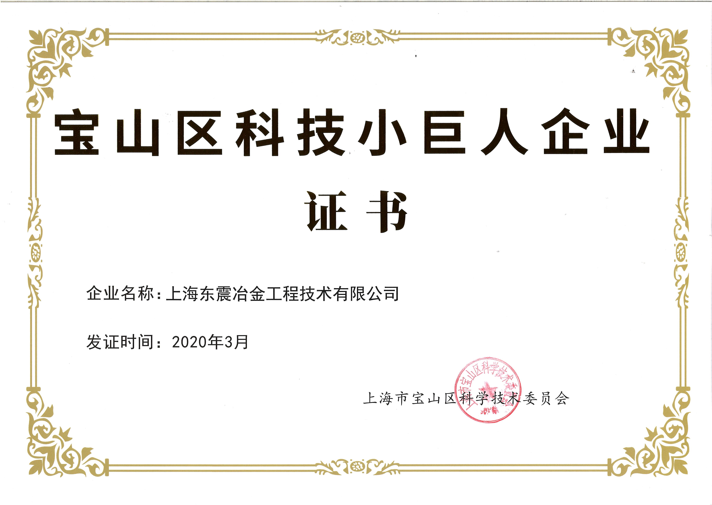 宝山区科技小巨人企业证书